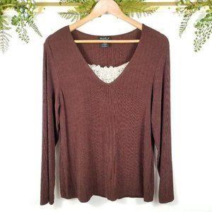🌼VINTAGE -B11- brown long sleeve lace LP